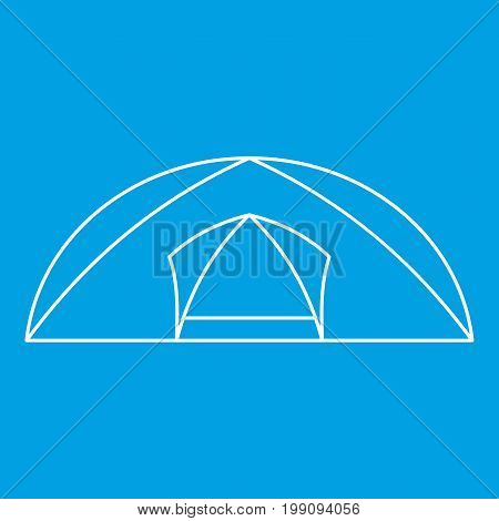 Tourist semicircular tent icon blue outline style isolated vector illustration. Thin line sign