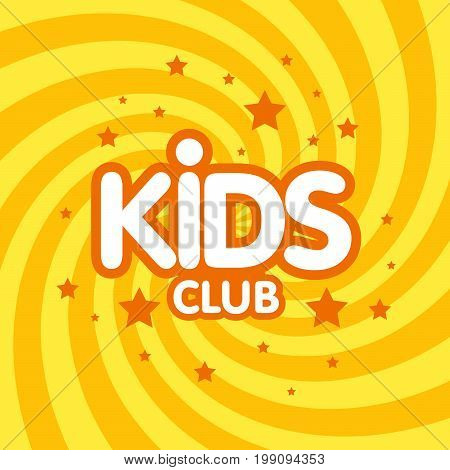 Kids Club Letter Sign Poster Vector Illustration