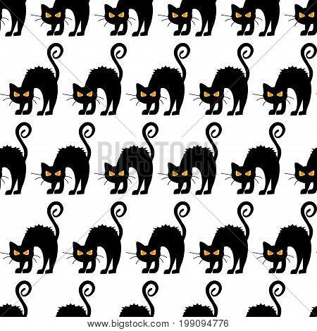 Abstract Seamless Pattern For Girls Or Boys. Creative Vector Background With Cat, Cloud Boo, Hallowe