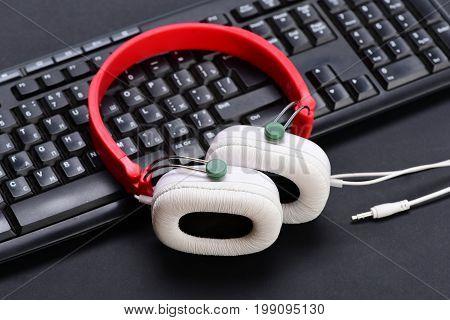Electronic Appliances On Black Background. Sound Recording
