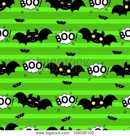 Abstract seamless pattern for girls or boys. Creative vector background with bat, cloud boo, halloween. Funny wallpaper for textile and fabric. Fashion style. Colorful bright picture for children.