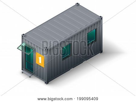 Modular home for staff or workers from the container. Smart apartment. Workshop. Isometrics in vector graphics