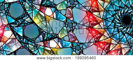 Colorful glowing stained glass computer generated abstract background 8k widescreen 3D rendering