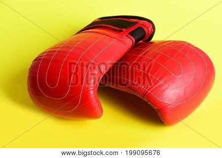 Duet Of Bright Red Gloves For Boxing In Heavyweight Class