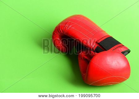 Sport Equipment Isolated On Green Background. Professional Box