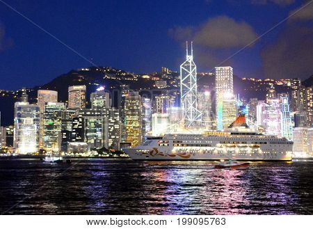 Hong Kong skyline at night, view from Kowloon side.