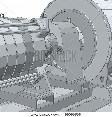 Industrial equipment. Electrical engine. Wire-frame. EPS10 format. Vector rendering of 3d