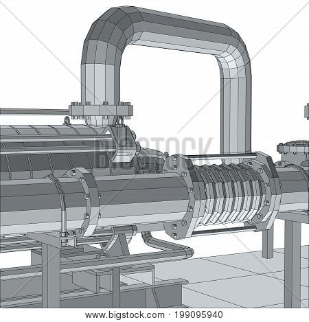 Industrial equipment pipeline. Wire-frame. EPS10 format. Vector rendering of 3d.