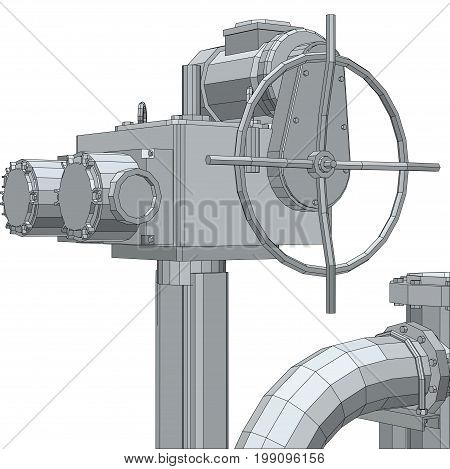 Industrial equipment electric valve. Wire-frame. EPS10 format. Vector rendering of 3d.