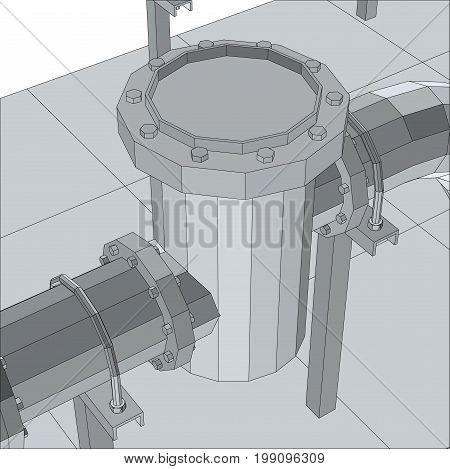 Industrial equipment filter. Wire-frame. EPS10 format. Vector rendering of 3d.