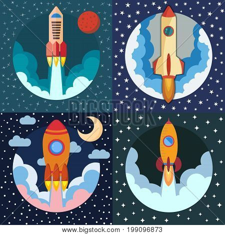 Set of four space rocket ships. Space rocket launch. Project startup and development process concept. The rocket flies upwards.
