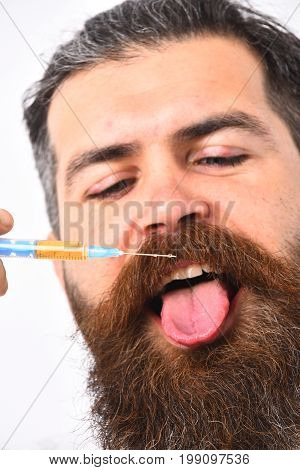 Man Showing His Tongue. Medicine And Health Concept