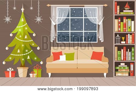 New Year s interior vector. A cozy room decorated for Christmas. Illustration in a flette style.