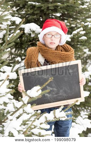 small christmas boy or cute nerd kid in glasses scarf and red santa claus hat in winter outdoor at green fir tree with snow holds blackboard or chalkboard on natural background copy space