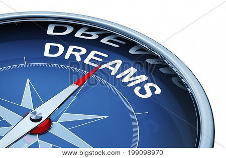 3D rendering of an compass with the word dreams