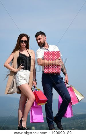Shopping And Fashion Concept. Man And Long Haired Woman
