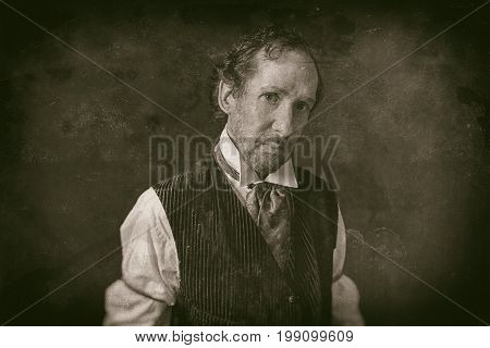 Classic Wet Plate Photo Of Man With Beard In Vintage 1900 Western Clothing.