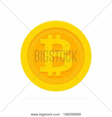 Golden Bitcoin Icon For Cryptocurrency, Virtual Currency, Digital Money, Ecash. Vector Illustration