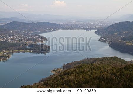 Panoramic view of Woerthersee lake and Klagenfurt