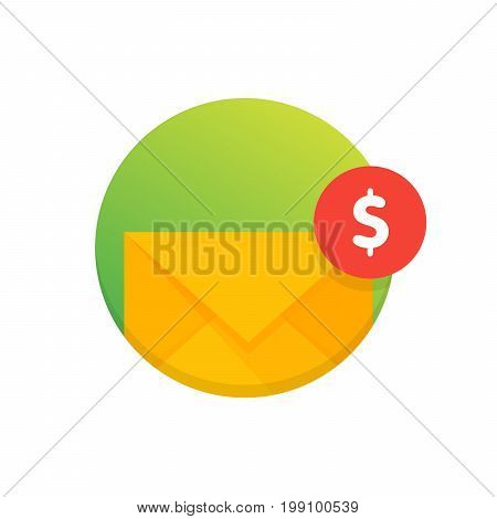Mail Envelope Icon With Dollar Coins. Email Send Money Concept Vector Illustration