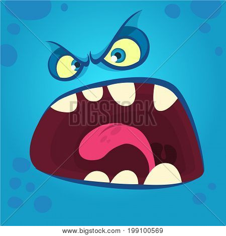 Angry cartoon monster face. Halloween illustration. Prints design for t-shirts