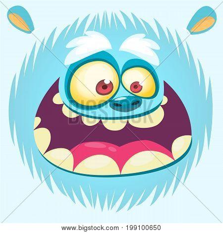 Cartoon yeti face. Vector bigfoot snowman. Design for t-shirt print sticker or illustration