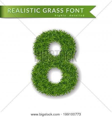 Grass number eight. Green number 8 isolated on white background. Green grass eight symbol of fresh nature plant lawn summer. Grass texture spring font. Beautiful eco design Vector illustration