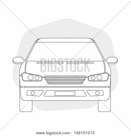 Front View Line Outline Car Vector Illustration