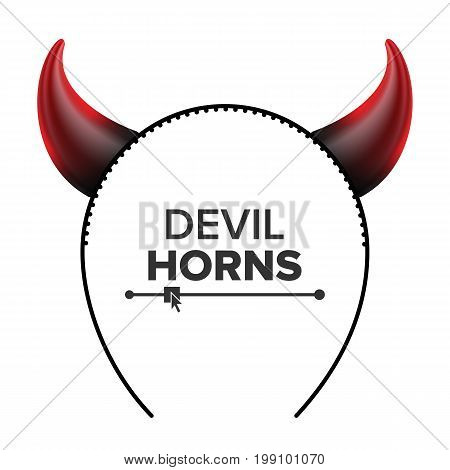 Devil Horns Vector. Head Gear. Red Luminous Horn. Halloween Evil Horns Sign, Icon. Isolated