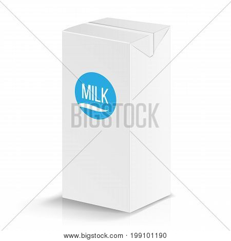Milk Package Vector Mock Up. Realistic Illustration. Blank Box 1000 ml. Milk Template Retail Package Blank Template