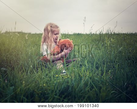 Little girl with Teddy bear in field. High green grass