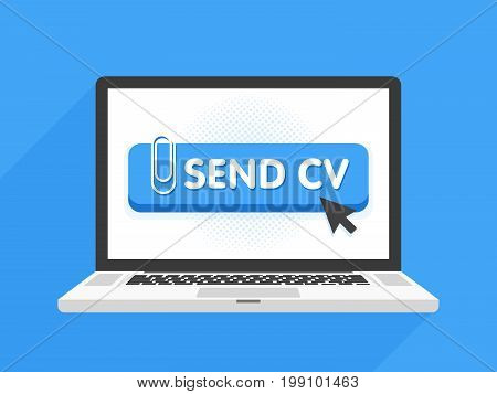 Laptop Computer With Resume Template. Send Cv Buttons. Work And Job Search Concept Vector Illustrati