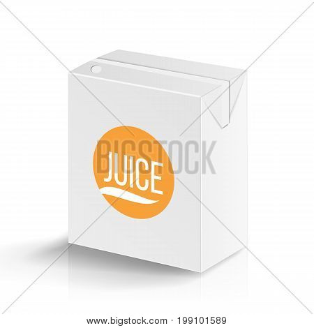 Juice Package Vector Realistic Mock Up Template. Carton Branding Box 200 ml. White Empty Clean Cardboard Package Drink Small Juice Box Blank Isolated. Vector