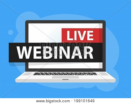 Free Webinar Play Online Button Vector Illustration In Laptop Notebook Computer Screen. Vector Illus