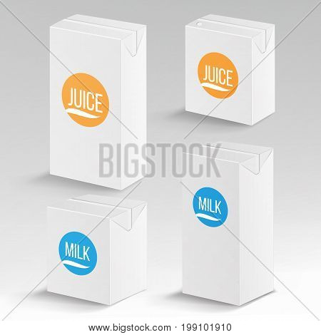Juice and Milk Package Vector Realistic Mock Up Template. Carton Branding Box 1000 ml and 200 ml. White Empty Clean Cardboard Package Drink Small Juice, Milk Box Blank
