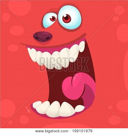 Cartoon monster face isolated . Vector Halloween red happy monster square avatar