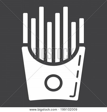 French fries glyph icon, food and drink, fast food sign vector graphics, a solid pattern on a black background, eps 10.