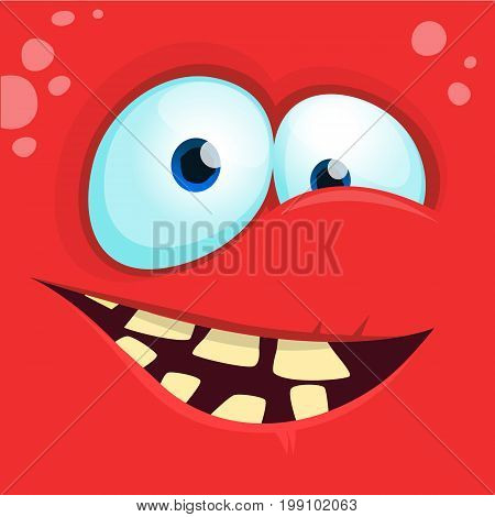 Cartoon monster face isolated . Vector Halloween red happy monster square avatar. Design for t-shirt sticker print or party invitation
