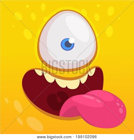 Cartoon happy funny aline character one eye. Vector illustration of alien face