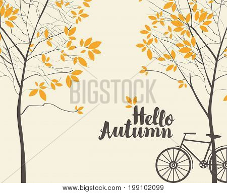 Vector landscape in retro style on the autumn theme with the inscription Hello autumn trees and bike