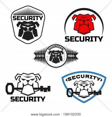 Set Bulldog logo vector illustration, emblem design on white background. Bulldog with key.