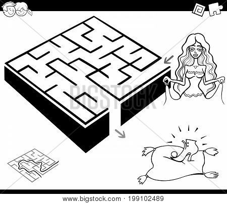 Black and White Cartoon Illustration of Education Maze or Labyrinth Game for Children with Cinderella Fantasy Character Coloring Page poster