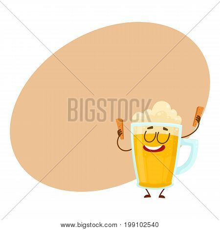 Funny beer glass mug character with smiling human face holding croutons, cartoon vector illustration with space for text. Cute and funny lager beer mug character, mascot with croutons