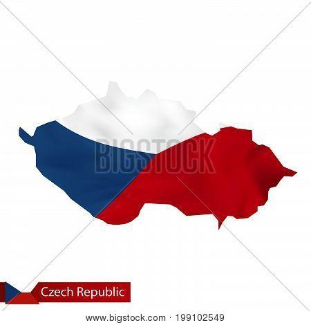 Czech Republic Map With Waving Flag Of Czech Republic.
