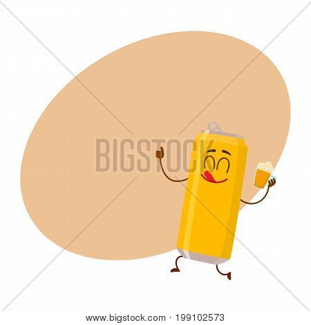 Funny beer can character with smiling human face holding a lager mug, cartoon vector illustration with space for text. Cute and funny beer can character, mascot drinking, showing thumb up