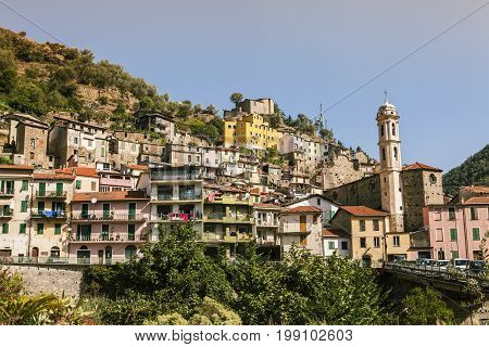 Photo of the small old town of Badalucco in Italy in the province of Imperia the Italian region Liguria.
