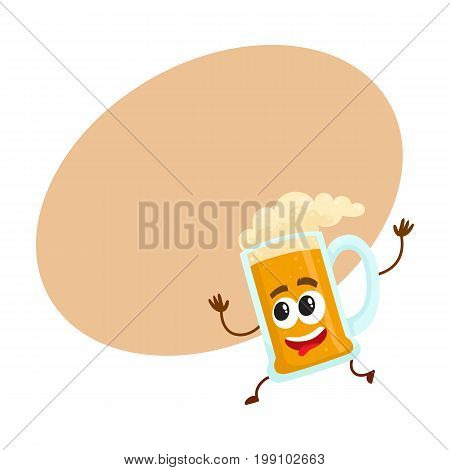 Funny beer glass mug character with smiling human face running, hurrying, cartoon vector illustration with space for text. Cute and funny running lager beer mug character, mascot