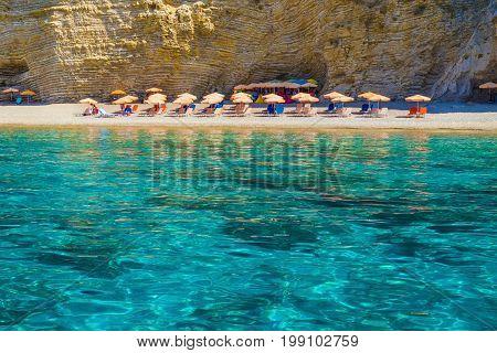 Paradise beach, Ionian sea coast, Corfu island, Greece