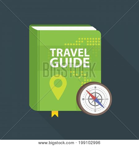 Travel Guide Book Icon. World Map And Pin In Cover. Flat Vector Illustration