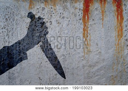 Shadow of human hand with killing knife on bloody wall background. Illustration for criminal news and chronicles.
